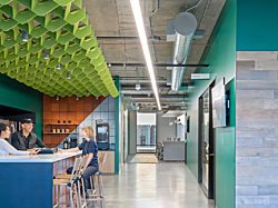 Adobe Hooper  | Design firm: Gensler  |  Photo: Jasper Sanidad  | Product: Turf Custom Ceiling Baffle